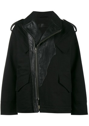 Haider Ackermann Military Jacket with Leather Accents - Black