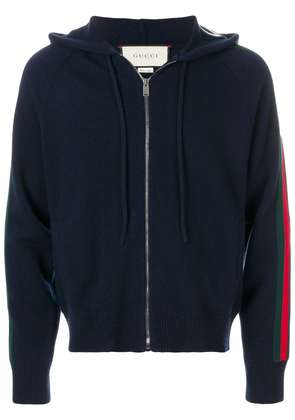 Gucci Web stripe knitted hoodie - Blue