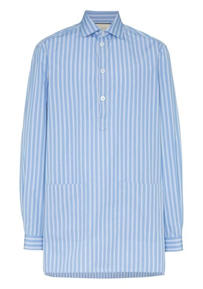Gucci oversized stripe print cotton shirt - Blue