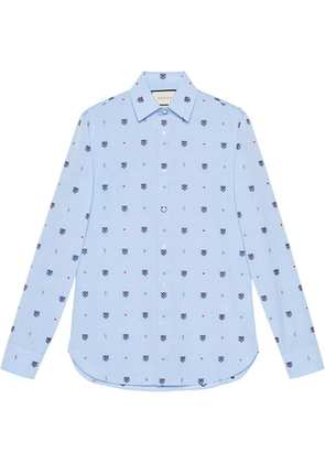 Gucci Feline head and symbols fil coupé shirt - Blue
