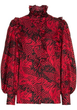 Gucci silk tiger print tie neck blouse - Red