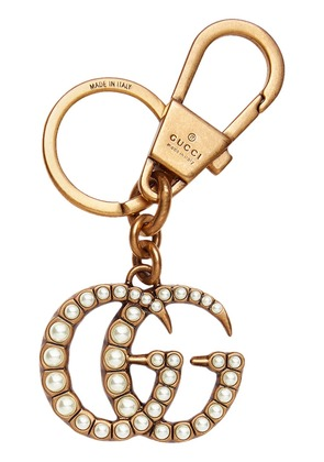 Gucci Double G with pearls key ring - Metallic