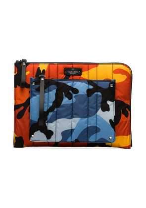 Valentino multicoloured camouflage print quilted pouch