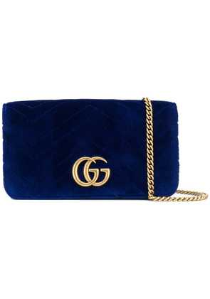 Gucci chevron textured logo clutch - Blue