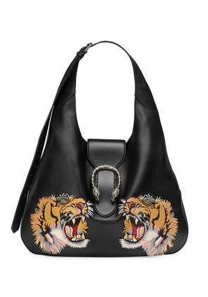 Gucci Dionysus embroidered maxi leather hobo - Black