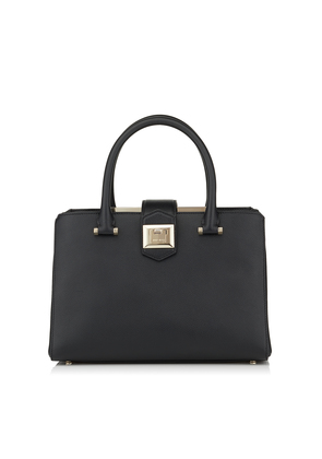 MARIANNE/S Black Grainy Calf Leather Tote Bag