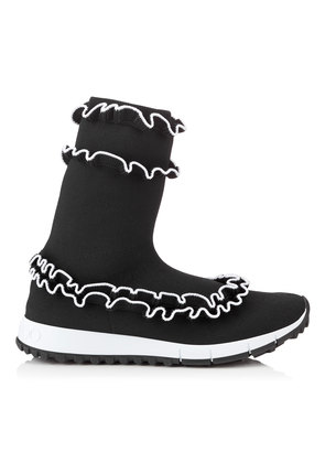 EUGENE Black and White Knit Slip On Trainers