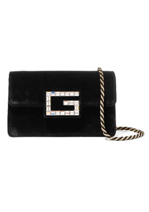 Gucci - Broadway Crystal-embellished Velvet Shoulder Bag - Black