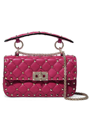 Valentino - Valentino Garavani The Rockstud Spike Medium Quilted Leather Shoulder Bag - Fuchsia