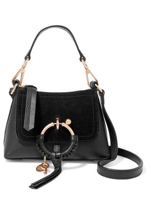 See By Chloé - Joan Mini Suede-paneled Textured-leather Shoulder Bag - Black