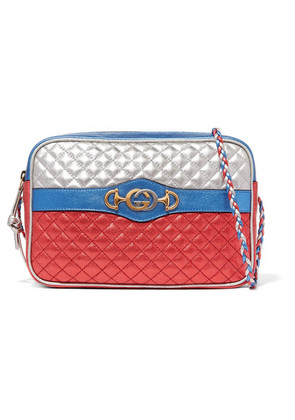 Gucci - Metallic Quilted Leather Shoulder Bag - Red