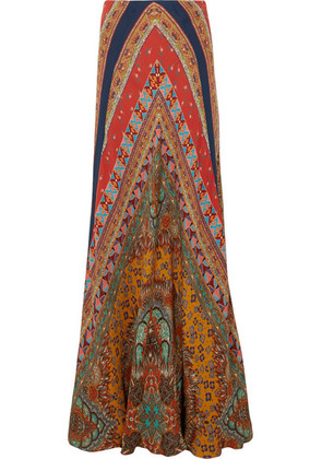 Etro - Printed Silk-georgette Maxi Skirt - Red