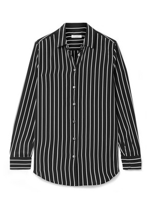 Equipment - Essential Striped Silk Crepe De Chine Shirt - Black