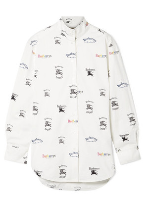 Burberry - Printed Cotton-blend Poplin Shirt - White
