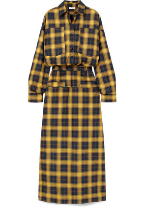 Attico - Tartan Cotton Shirt Dress - Yellow