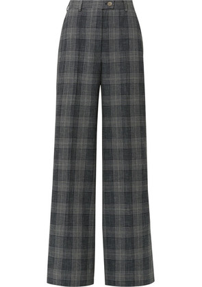 Acne Studios - Checked Wool And Cotton-blend Wide-leg Pants - Dark gray