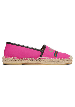 Gucci - Pilar Leather-trimmed Logo-print Canvas Espadrilles - Pink
