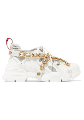 Gucci - Flashtrek Embellished Logo-embossed Leather, Suede And Mesh Sneakers - White