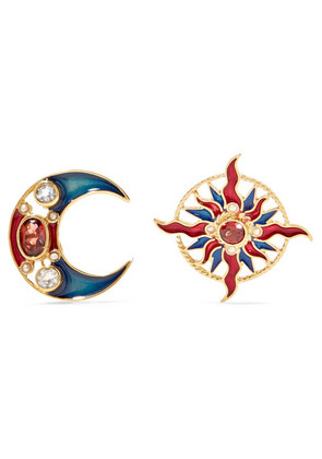 Percossi Papi - Gold-plated And Enamel Multi-stone Earrings - Red