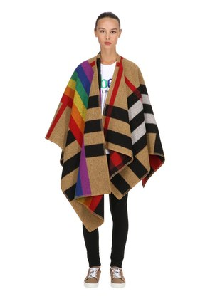 RAINBOW CHECK WOOL & CASHMERE CAPE