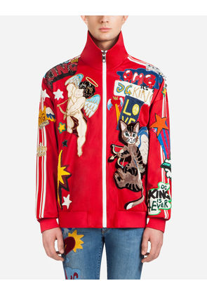 Dolce & Gabbana Sweaters - SWEATSHIRT WITH ZIPPER AND PATCH RED