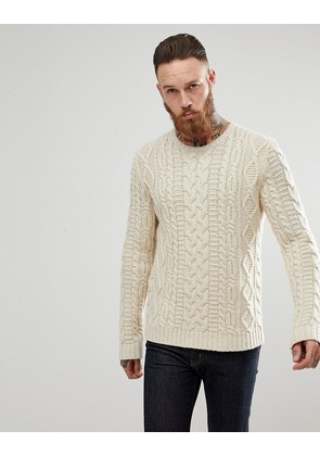 ASOS Chunky Cable Knit Jumper In Oatmeal - Oatmeal