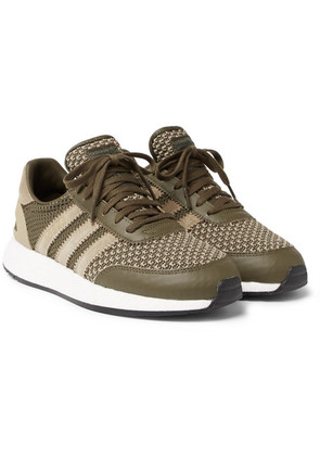 + Neighborhood I-5923 Suede And Leather-trimmed Stretch-knit Sneakers