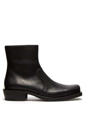 Square-toe leather ankle boots