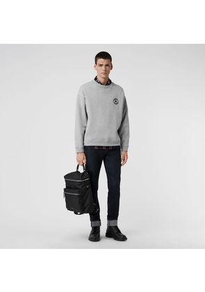 Burberry Embroidered Logo Jersey Sweatshirt, Grey