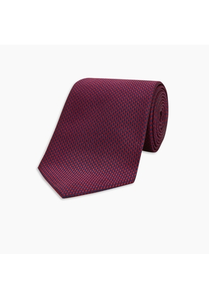 Seven-Fold Navy and Burgundy Houndstooth Silk Tie
