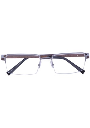 Gold And Wood wood detail glasses - Brown