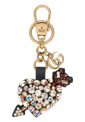 Gucci crystal embellished heart keychain - Black