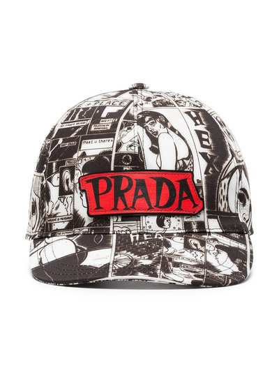 5c13eba80a3 Prada black and white cartoon print cotton cap