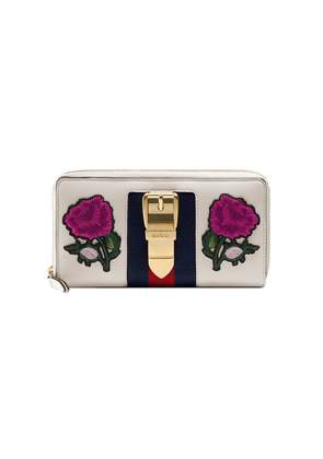 Gucci multicoloured Sylvie embroidered leather zip around wallet -