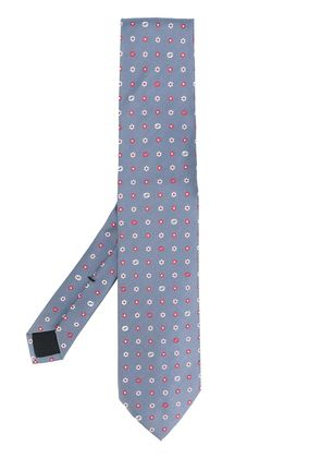 Gucci flower pattern tie - Blue