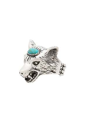 Gucci Turquoise Anger Forest Wolf Head Sterling Silver Ring - Metallic