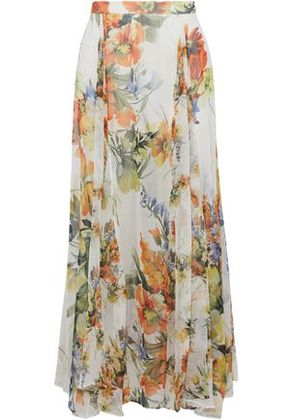 Haute Hippie Woman Pleated Floral-print Silk-chiffon Layered Shorts Multicolor Size 4