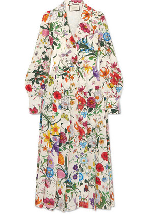 Gucci - Pleated Floral-print Silk Crepe De Chine Dress - Ivory