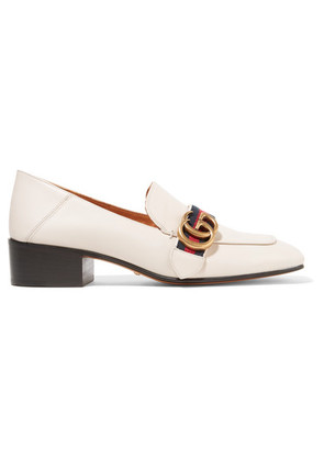 Gucci - Logo-embellished Leather Collapsible-heel Pumps - Off-white