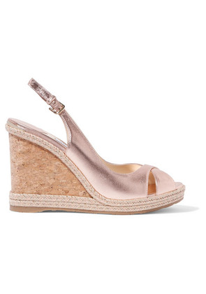 Jimmy Choo - Amely 105 Metallic Leather Espadrille Wedge Sandals - Gold