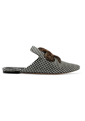 Sanayi 313 - Napola Embroidered Checked Canvas Slippers - Gray