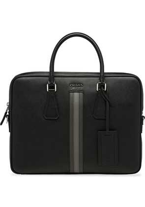 Prada stripe-detail briefcase - Black