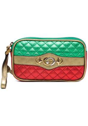 Gucci leather metallic quilted purse - Red