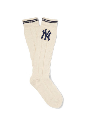 + New York Yankees Appliquéd Cable-knit Wool-blend Socks