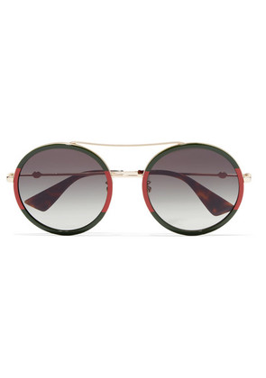 Gucci - Round-frame Striped Acetate And Gold-tone Sunglasses - Red