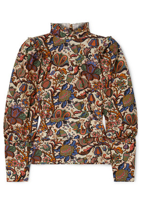 Anna Mason - Harper Printed Cotton-poplin Blouse - Brown