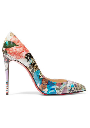 Christian Louboutin - Pigalle Follies 100 Printed Patent-leather Pumps - Blue