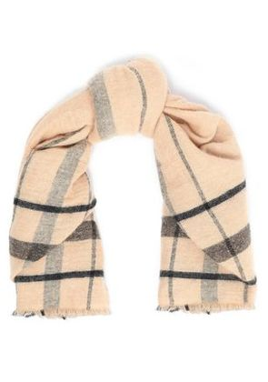 Brunello Cucinelli Woman Metallic-trimmed Knitted Scarf Sand Size -