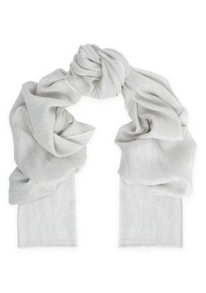 Brunello Cucinelli Woman Metallic Cashmere-blend Scarf Light Gray Size -