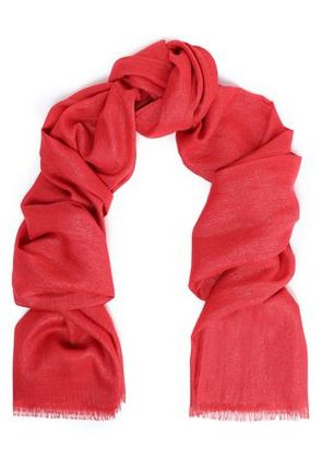 Brunello Cucinelli Woman Frayed Cashmere-blend Scarf Red Size -